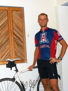 self portrait in my new university of arizona cycling jersey